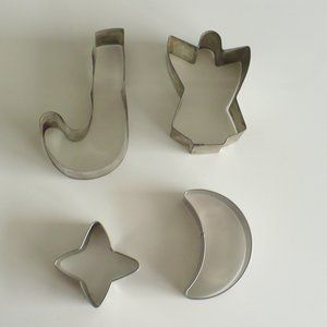 Vintage Kitchen - ❤️1950's Cookie Cutters Metal J, Angel, Star & Sun